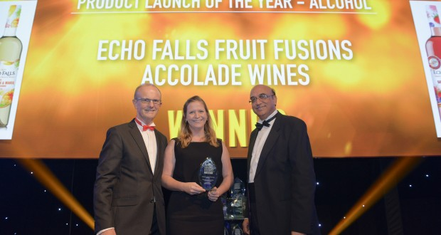 Amy White, marketing director of Accolade Wines, picks up the Alcohol Product award for its Echo Falls Fusion wine from, left, Andrew Skingley of Independent Retail News, and awards sponsor,  Zameer Choudrey, chief executive of Bestway Group