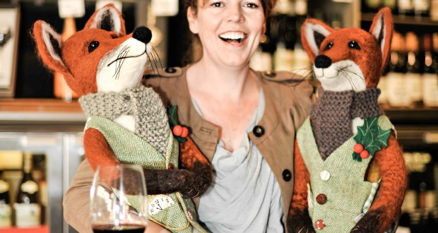 Oliva Colman with two of Oddbins' foxes