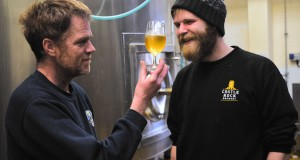 Castle Rock's head brewer Adrian Redgrove and Dan Gilliland with their world's first wine and beer fusion drink
