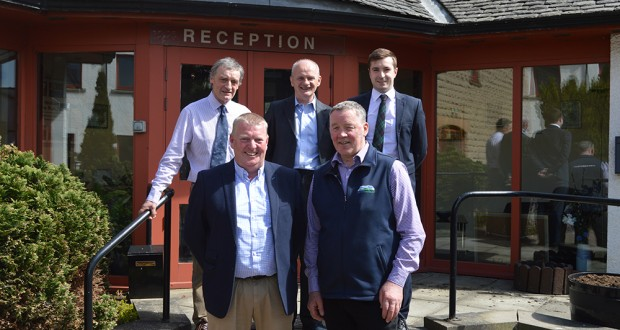 Front L to R: SAMW president Frank Clark and NFUS president Andrew McCornick; Back L to R: NFUS Livestock Committee Chair Charlie Adam, SAMW executive secretary Martin Morgan and NFUS livestock policy manager John Armour.